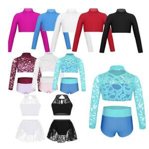 2PCS-Kids-Girls-Dance-Outfit-Lace-Crop-Top-Bottoms-Set-Lyrical-Modern-Dancewear