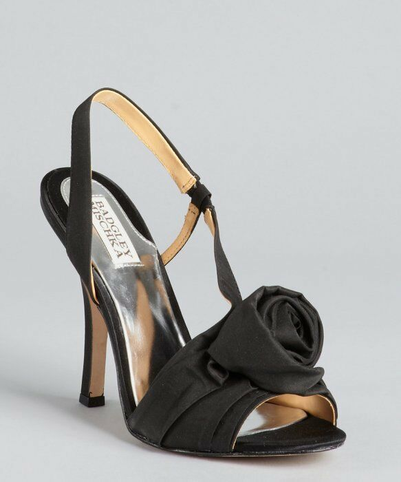 Badgley Mischka Lanah Black Fabric pinktte Heeled Sandals Size 6 7 7.5 8 NIB