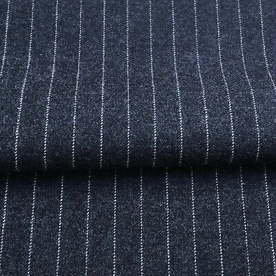 810 White stripes on black Price per 1//2 metre 100/% Wool fabric