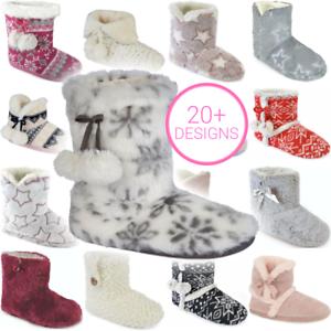 Kids Slippers Boys Fairisle Botee Slippers Winter Warm Shoes Snug Size 8-3