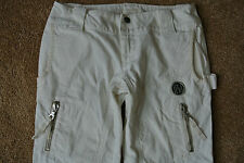 DIESEL OFF-WHITE Cropped Capri JEANS 27 NWOT$209 Extreme Hardware & Stitching!