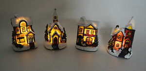 Dekobote, 4er Set Poly Haus Häuser beleuchtet Dorf Kirche NEU Weihnachten Winter
