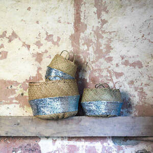Gold /& Black Small Sequins Belly panier en jonc de mer Planteur jouet panier à linge
