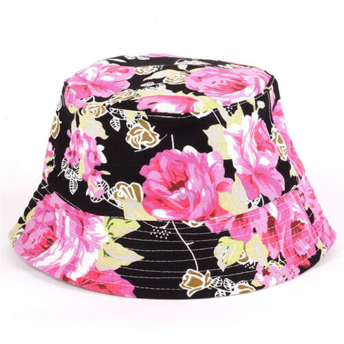 Womens Mens Floral Wide Brim Bucket Boonie Soft Hats Hunting Fishing Outdoor Cap