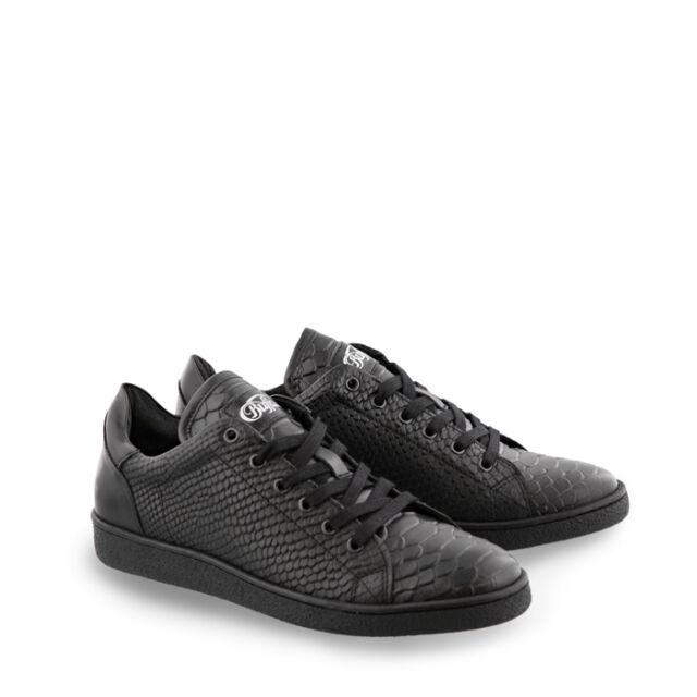 Buffalo Damen Sneakers Leder schwarz Reptilprint  Neu ES 30643