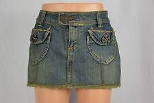 Vanilla Star Womens 3 Dark Wash Frayed Hem Short Blue Jean Denim Skirt