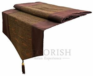 queen king size bed scarf decorative table runner brown silk stripe with tassel ebay. Black Bedroom Furniture Sets. Home Design Ideas