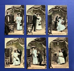 Romance-Set-6-Antique-Greetings-Postcards-1900s-Collector-Items-Nice-w-Value