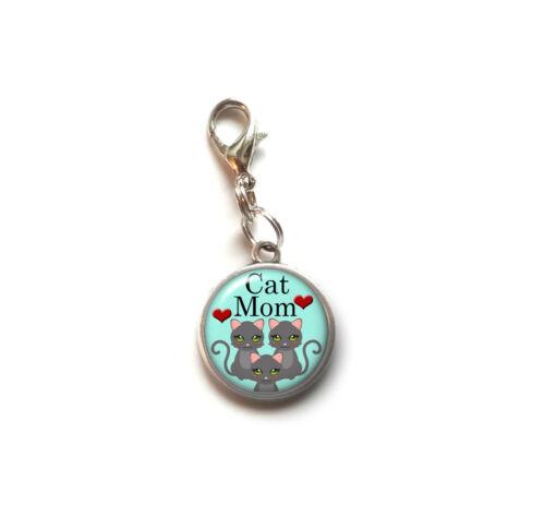 Clip On Charm CAT MOM Dangle Charm Lobster Claw Clasp Handmade USA