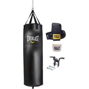 Everlast 100 Lb MMA Heavy Boxing Punching Bag Kit Wraps Gloves Kicking Training