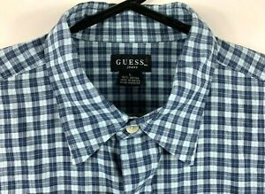 Guess-Men-039-s-Shirt-Size-Large-Short-Sleeve-Collared-Button-Up-Casual-Made-in-UAE