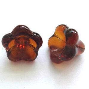 20 DK fumo Topazio 11x13mm Czech Glass Perline fiore  </span>