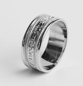 .925 Sterling Silver Irish Handcrafted Claddagh Design Wedding Anniversary Ring