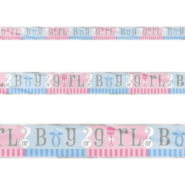 12ft Boy Or Girl Baby Shower Gender Reveal Party Foil Banner Decoration