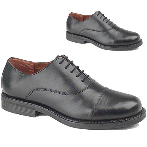 MENS BLK LEATHER CADET PARADE BIG SIZE CAPPED FORMAL SMART OCCASION SHOES 10-14