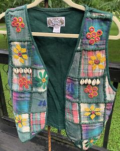 Women's Vintage Vest/Top Boho Colorful Patchwork Embellished Size Small