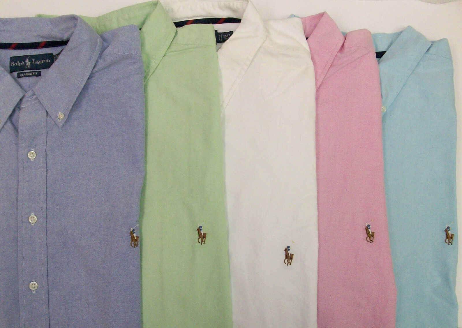 Polo Ralph Lauren SS Classic Fit Oxford Shirt w Pony  bluee Pink White Grn NWT