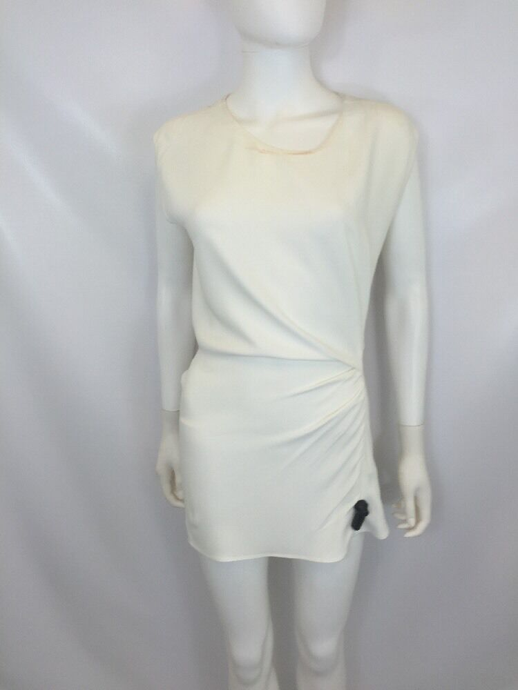 3.1 Phillip Lim Women's Ruched Raw Edge Top Ant. White Size 2  IW819