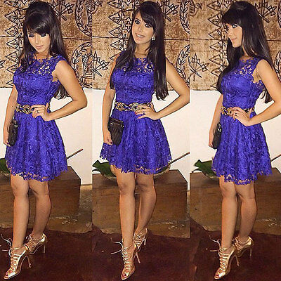 Women Casual Summer Sleeveless Lace Cocktail Evening Party Short Mini Dress Slim