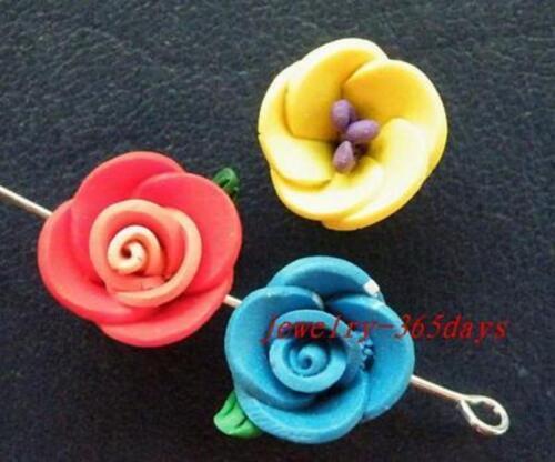 60pcs Clay Mixed Jolie Fleur Spacer Perles 12-13 mm h43