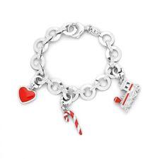 Fossil Jewelry Bracelet 4 PCS Set Red Enamel Heart Candy Cane Train Charms