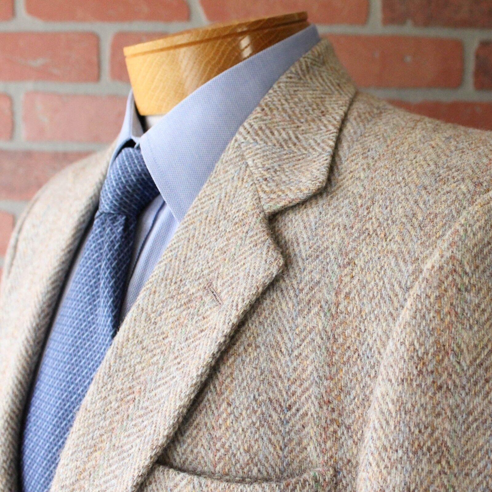 Harris Tweed Light Beige Pastel Accent Sportcoat Blazer 41R Wool Made in USA