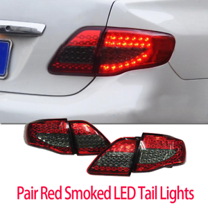 Pair-LED-Tail-Lights-Red-Smoked-For-Toyota-Corolla-2008-2010-ZRE152-Taillight