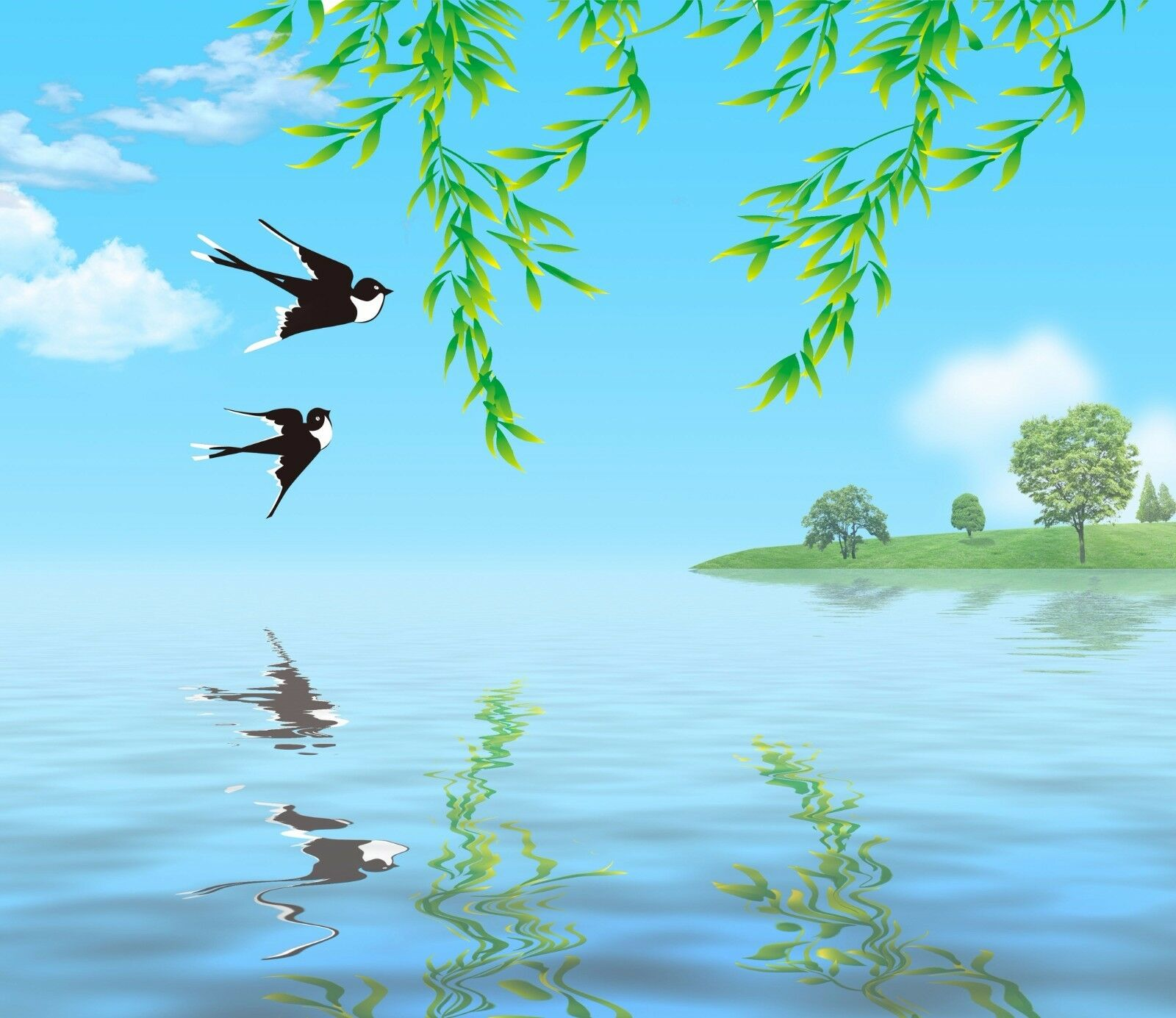 3D Lake Flying Birds 731 Paper Wall Print Wall Decal Wall Deco Indoor Murals