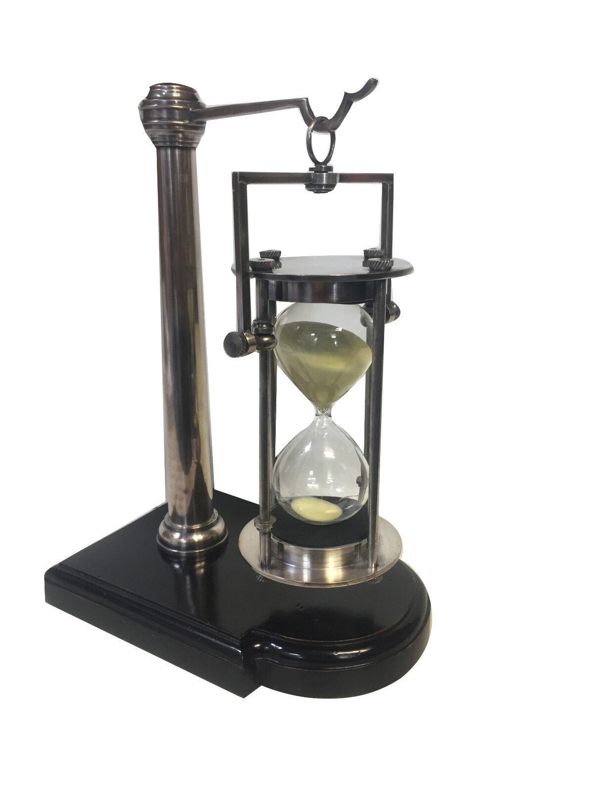 Brass Hourglass finition argent 30 m Sable Minuteur Avec Support 10  Nautique Décoration