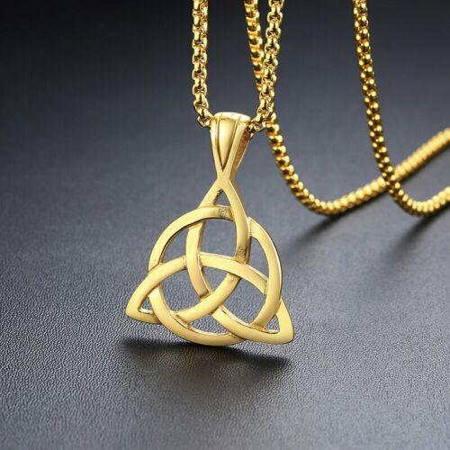Vnox Viking Celtic Knot Necklaces for Men Stainless Steel Triple Knot Pendants