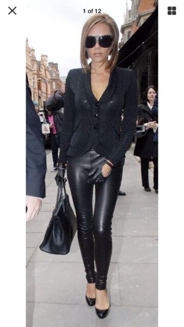 The ROW Women Sz  SM/MED Black Pants Skinny Moto Stretch Leather Leggings $1,950