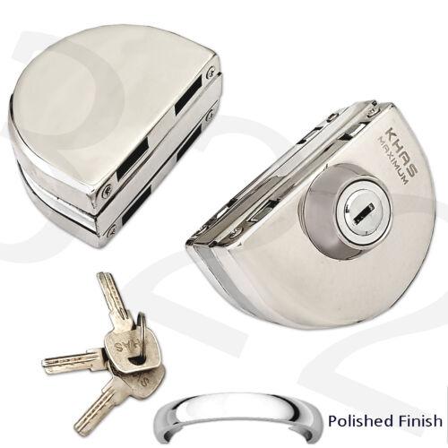 12mm Glass Door Lock Durable Mirror Finish Double Bolts Swing Push Sliding Shiny