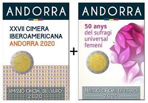 2-x-2-Euro-Gedenkmunze-Andorra-034-Iberoamerika-Gipfel-amp-Frauenwahlrecht-034-2020-BU