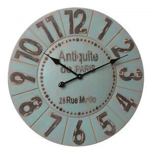 antique blue station wall decorative quartz clock large wooden 60cm ebay