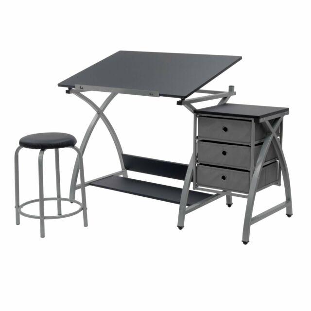 Brilliant Adjustable Drafting Table Desk Artist Architect Padded Stool 3 Storage Drawers Creativecarmelina Interior Chair Design Creativecarmelinacom