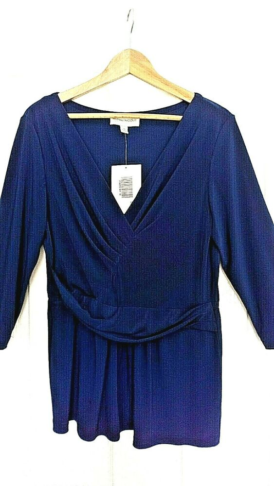 14 Ronni Nicole Extensible En Jersey Bleu Marine Haut-environ 12/14 Cross Over Bnwt