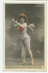 c 1903 Undivided back French Showgirl INSECT LADY Bug Bugged photo postcard