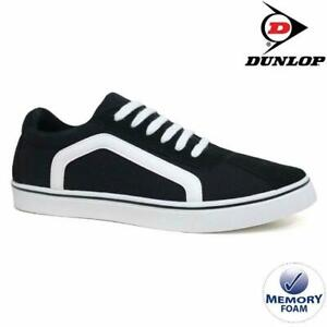 MENS-DUNLOP-MEMORY-FOAM-BLACK-WHITE-CANVAS-PLIMSOLLS-PUMPS-SHOES-TRAINERS-7-12