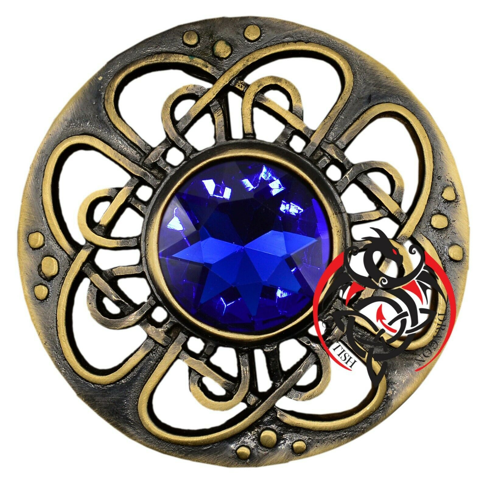 Scottish Kilt Fly Plaid Brooch Navy Blue Antique Gold Scottish Celtic Brooches 3