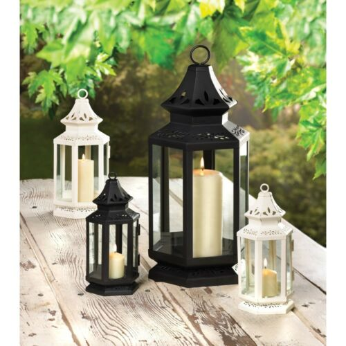 MEDIUM OR LARGE BLACK OR WHITE VICTORIAN CANDLE LANTERNS IN SMALL
