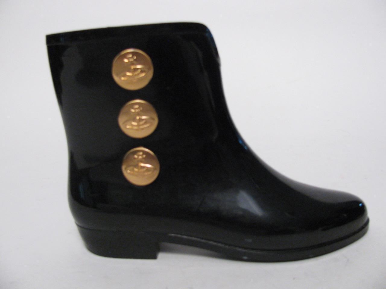 Vivienne Westwood Melissa Negro Zapatos botas De Goma Negra Corta Botón de oro  8
