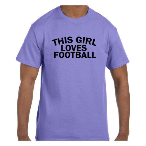 Funny Humor Tshirt This Girl Loves Football Short or Long Sleeve