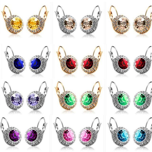 Women Fashion Rhinestone Crystal Dangle Earrings Ear Hook Stud Jewellery 1 Pair