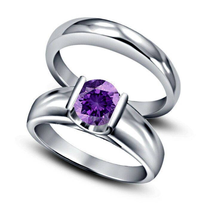 Ladies 1.20 Ct Amethyst Bridal Set Solitaire Engagement Ring 14K White gold Over