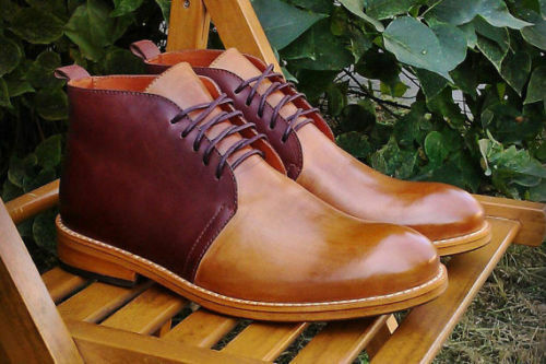 MEN HANDMADE ORIGINAL LEATHER SHOES CHUKKA BROWN HIGH ANKLE BOOTS