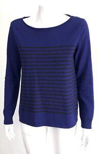 EILEEN-FISHER-size-XS-Long-Sleeve-Cotton-Sweater-Purple-Charcoal-Gray-Stripe