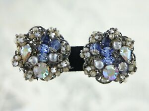 Vintage-Signed-Robert-Silver-Filigree-Rhinestone-Pearl-Earrings-Haskell-Style