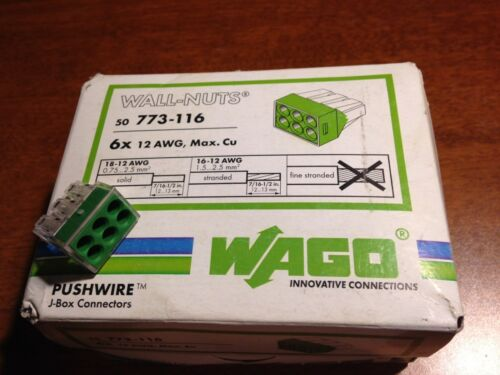 100 6 #12 AWG WAGO 773-116 Wall-Nuts Push Wire connector marrette // nut -