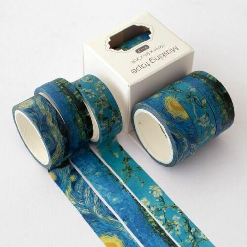 3 Pcs Van Gogh Washi Tape Stickers Diy Scrapbooking Sticker Label Stationery Diy
