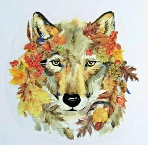 XL großes Bügelbild Applikation Wolf Hund Blätter Herbstlaub Laub